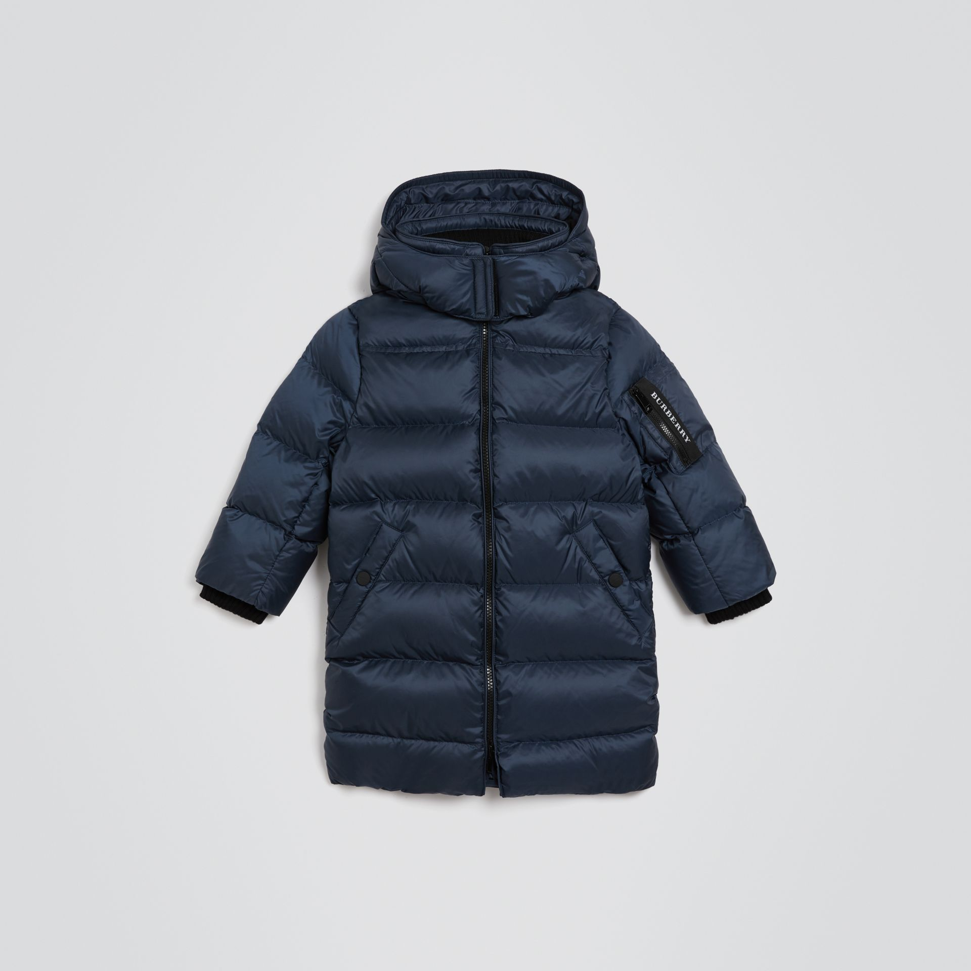 Detachable Hood Down-filled Puffer Coat in Navy | Burberry - gallery image 0