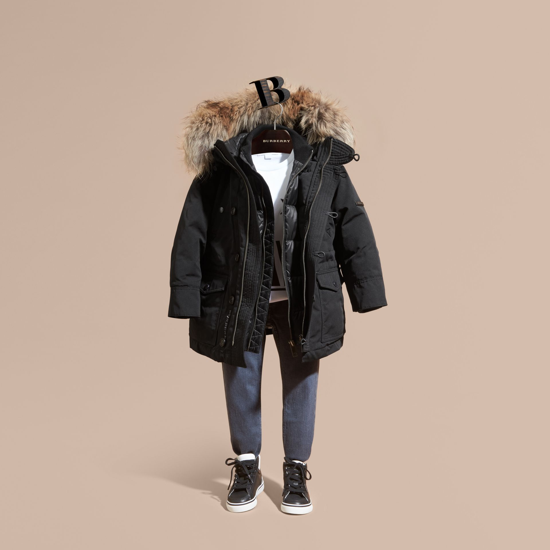 Fur-Trimmed Down-Filled Hooded Puffer Coat Black - gallery image 1