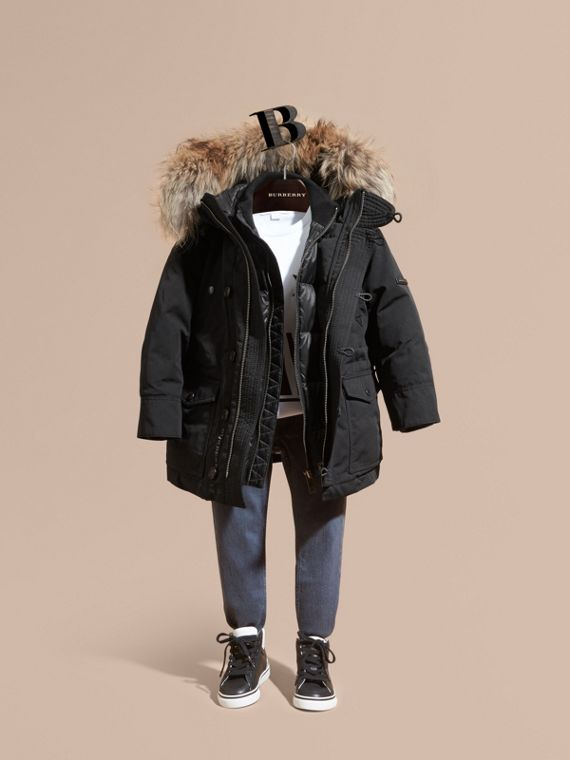 Fur-Trimmed Down-Filled Hooded Puffer Coat in Black