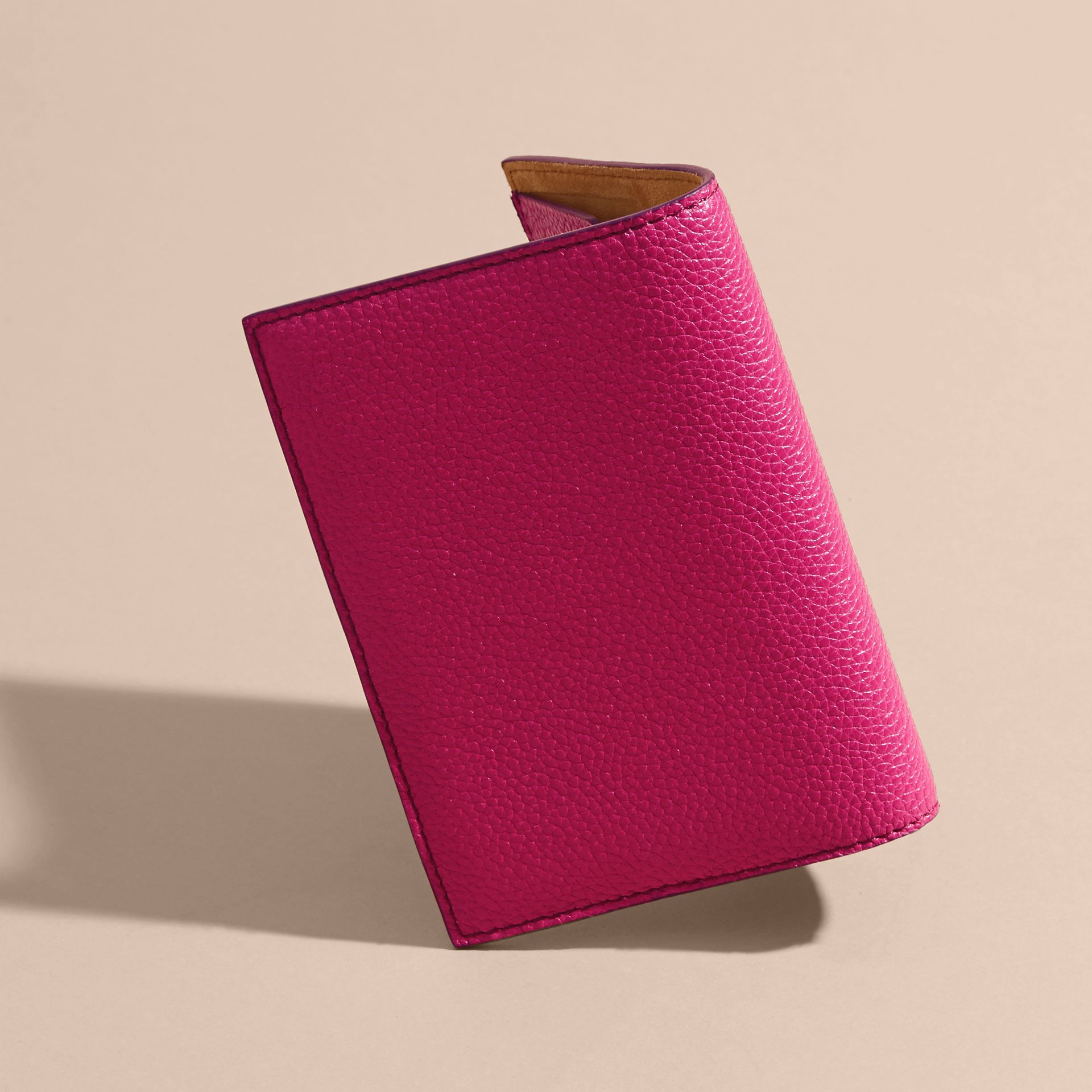 Grainy Leather Passport Holder in Brilliant Fuchsia - Women | Burberry - gallery image 3
