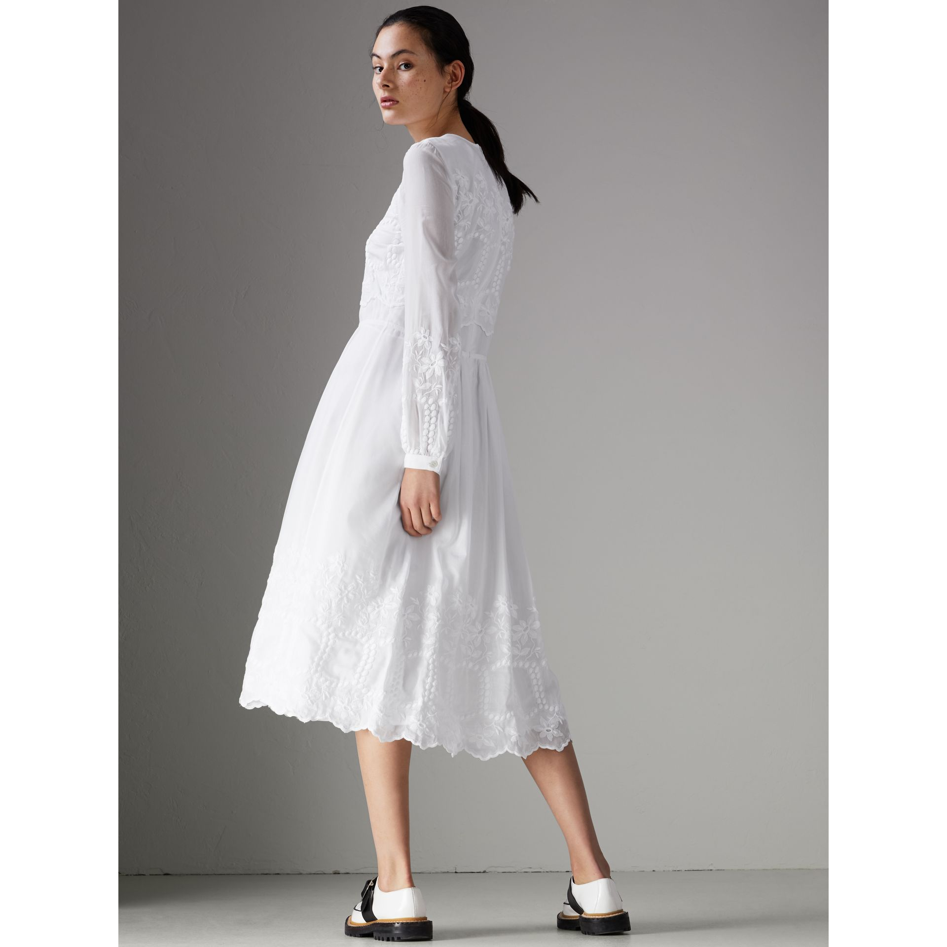 Embroidered Cotton Silk Voile Dress in White - Women | Burberry - gallery image 2