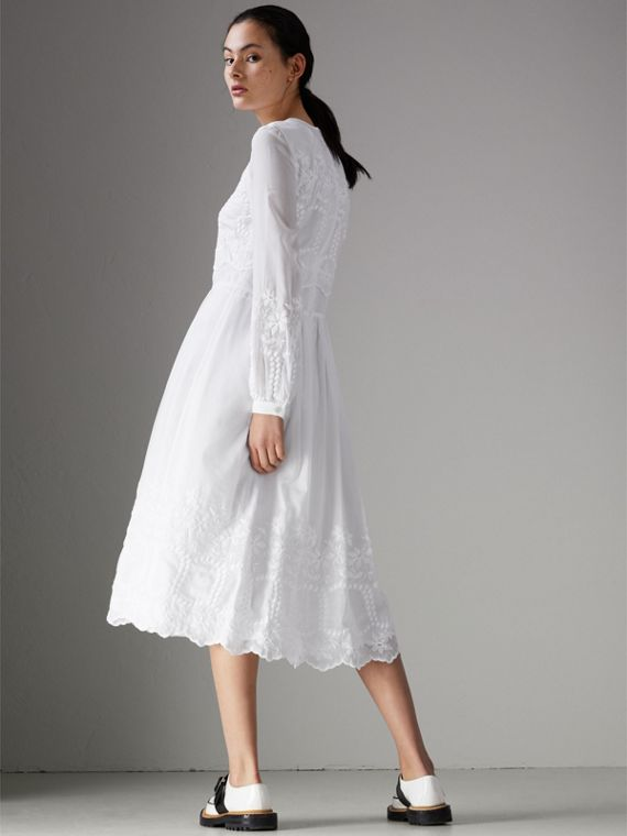 Embroidered Cotton Silk Voile Dress in White - Women | Burberry Hong Kong - cell image 2