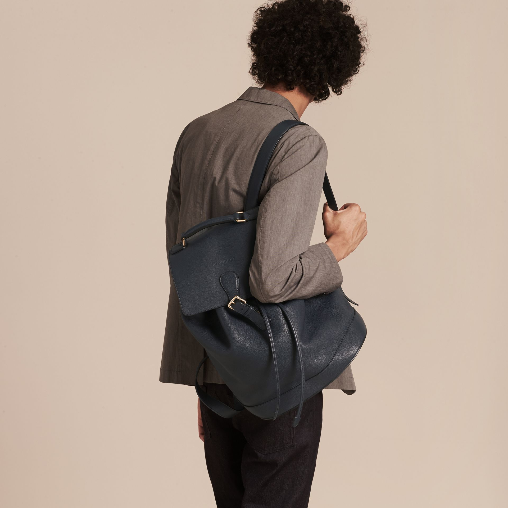 Dark pewter blue Grainy Leather Backpack Dark Pewter Blue - gallery image 3