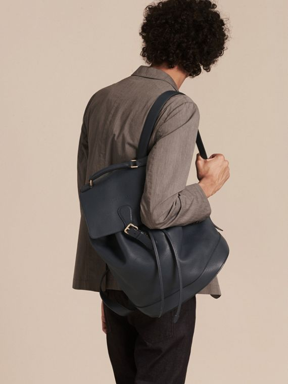 Dark pewter blue Grainy Leather Backpack Dark Pewter Blue - cell image 2