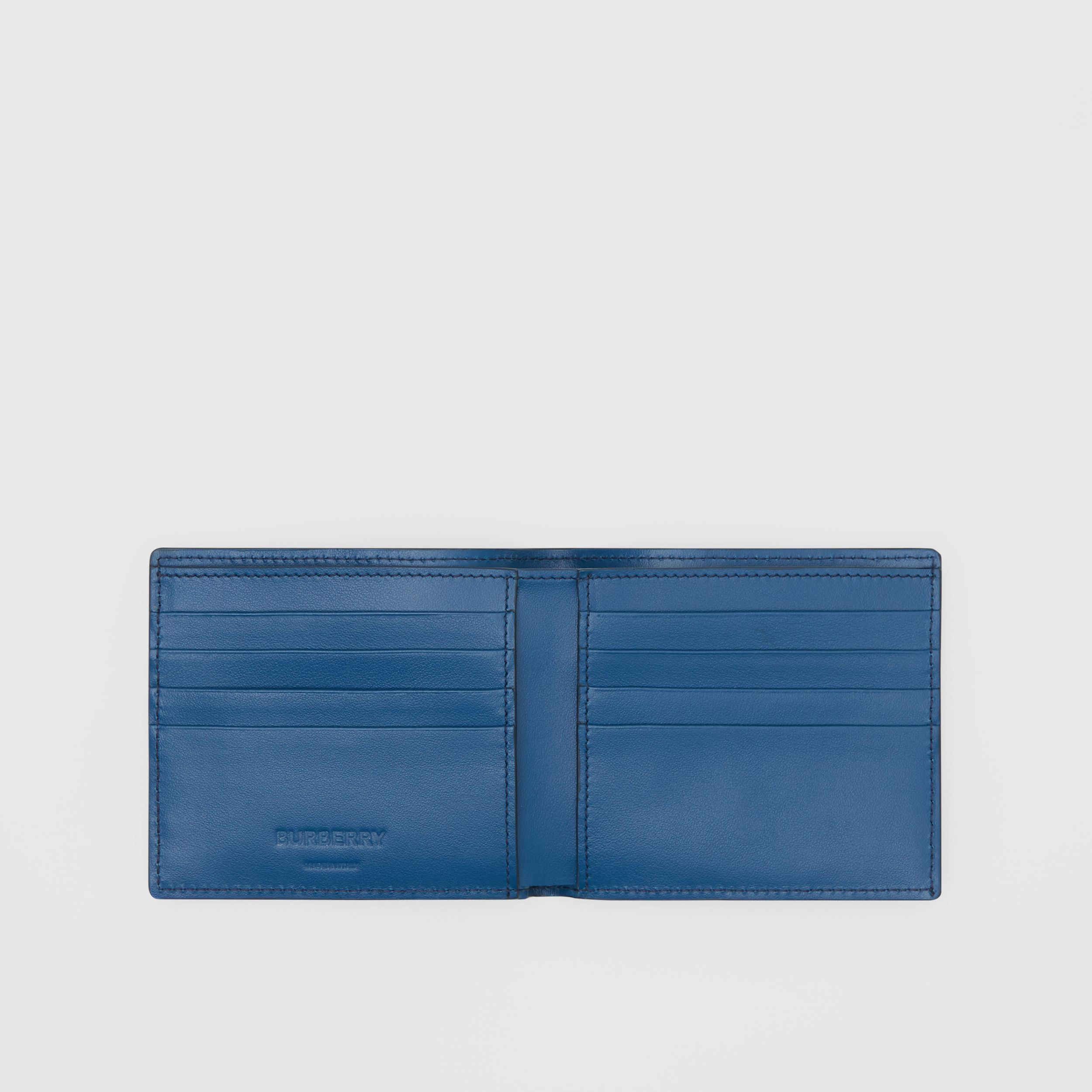 Monogram Leather International Bifold Wallet in Pale Canvas Blue - Men | Burberry - 3