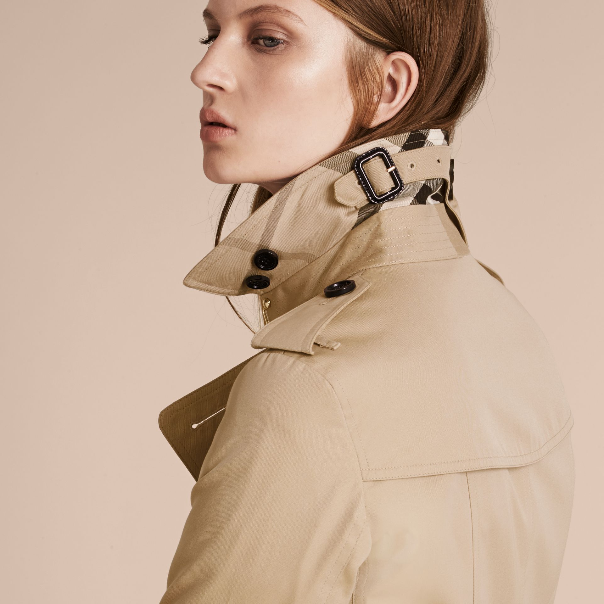 Long Cotton Gabardine Trench Coat - gallery image 6