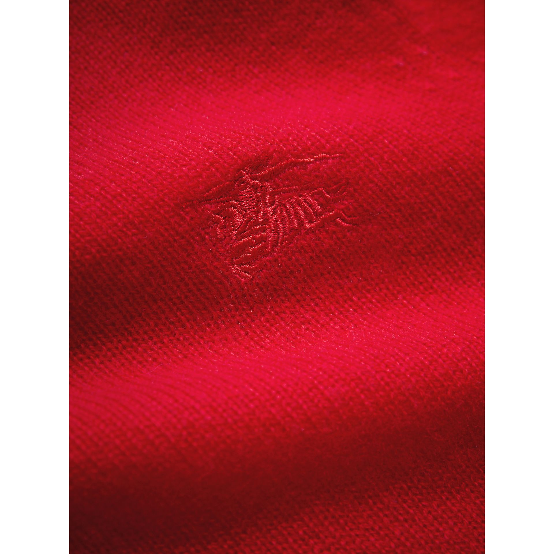 Check Elbow Patch Cashmere Sweater in Parade Red | Burberry - gallery image 1
