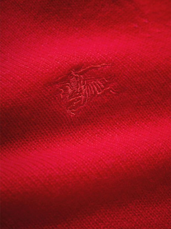 Check Elbow Patch Cashmere Sweater in Parade Red | Burberry - cell image 1