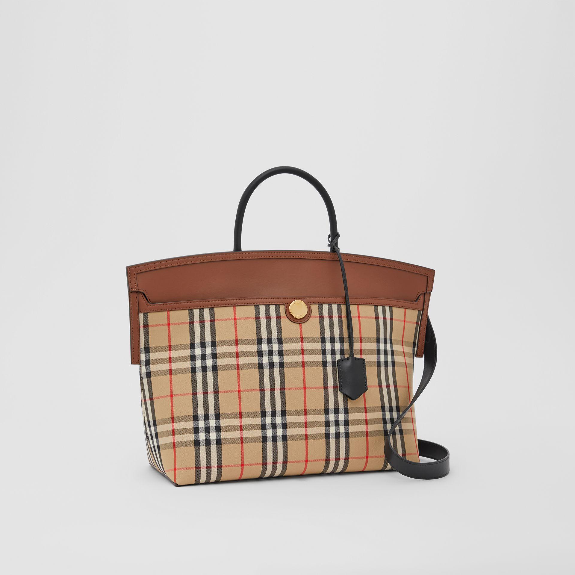Vintage Check and Leather Society Top Handle Bag in Archive Beige/tan - Women | Burberry United Kingdom - gallery image 4