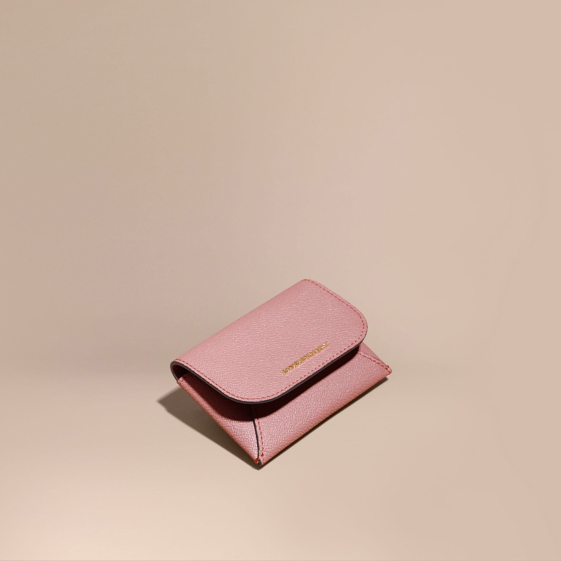 Leather Coin Case with Removable Card Compartment in Dusty Pink - Women | Burberry - gallery image 1