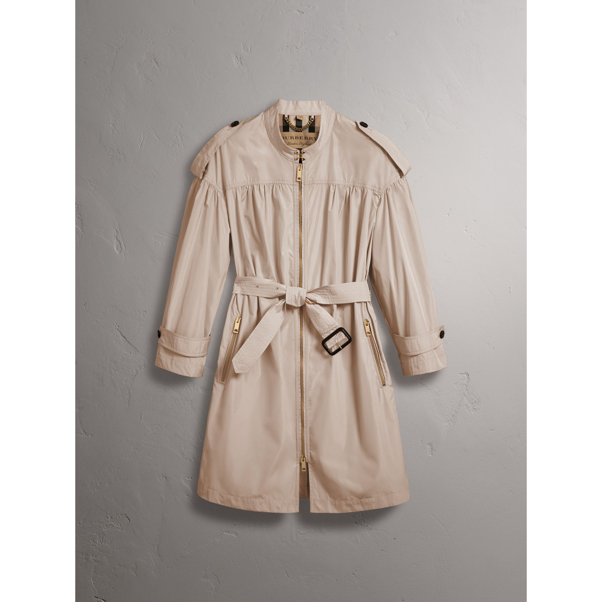 Lightweight Ruched Coat in Antique Taupe Pink - Women | Burberry Singapore - gallery image 4