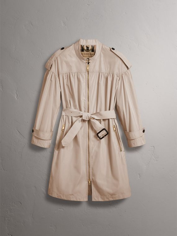 Lightweight Ruched Coat in Antique Taupe Pink - Women | Burberry Singapore - cell image 3