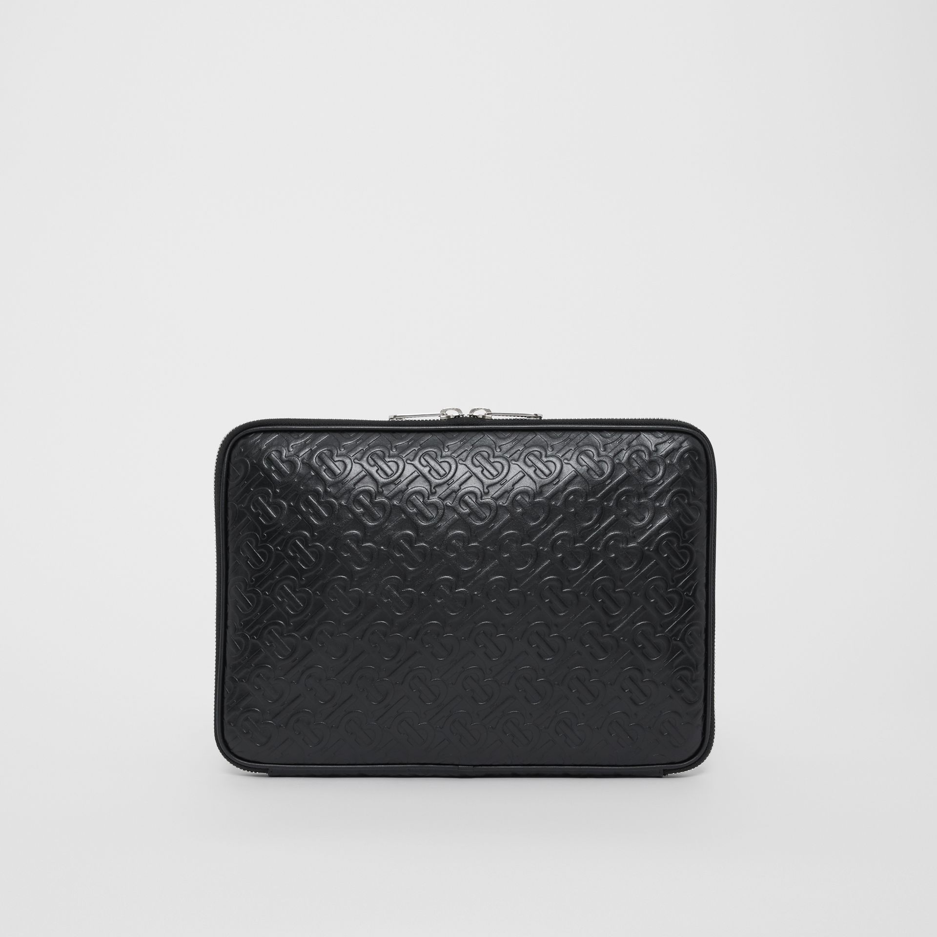 Monogram Leather Digital Case in Black - Men | Burberry Singapore - gallery image 0