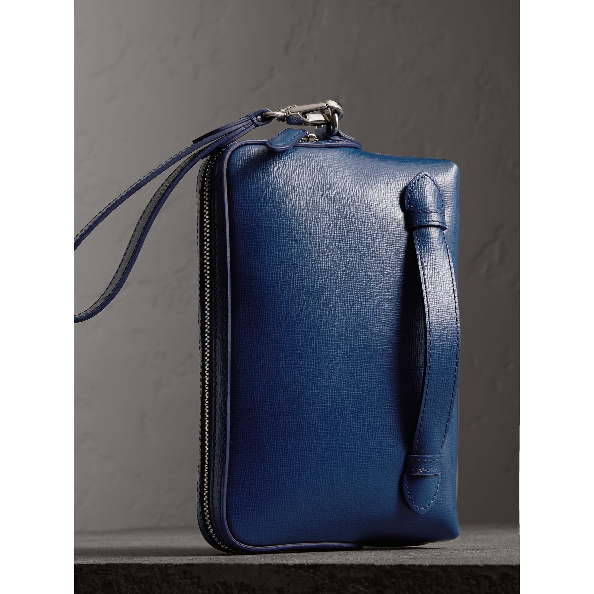 London Leather Pouch in Deep Blue - Men | Burberry - gallery image 4