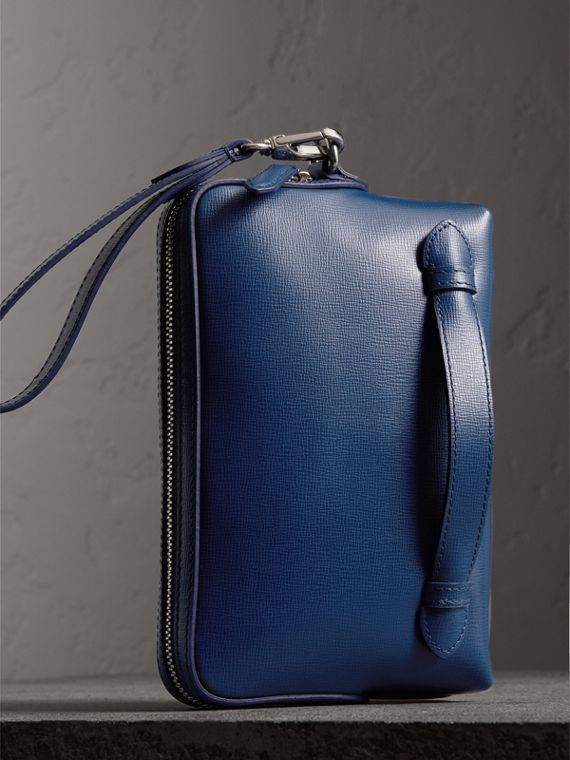 London Leather Pouch in Deep Blue | Burberry United States - cell image 3