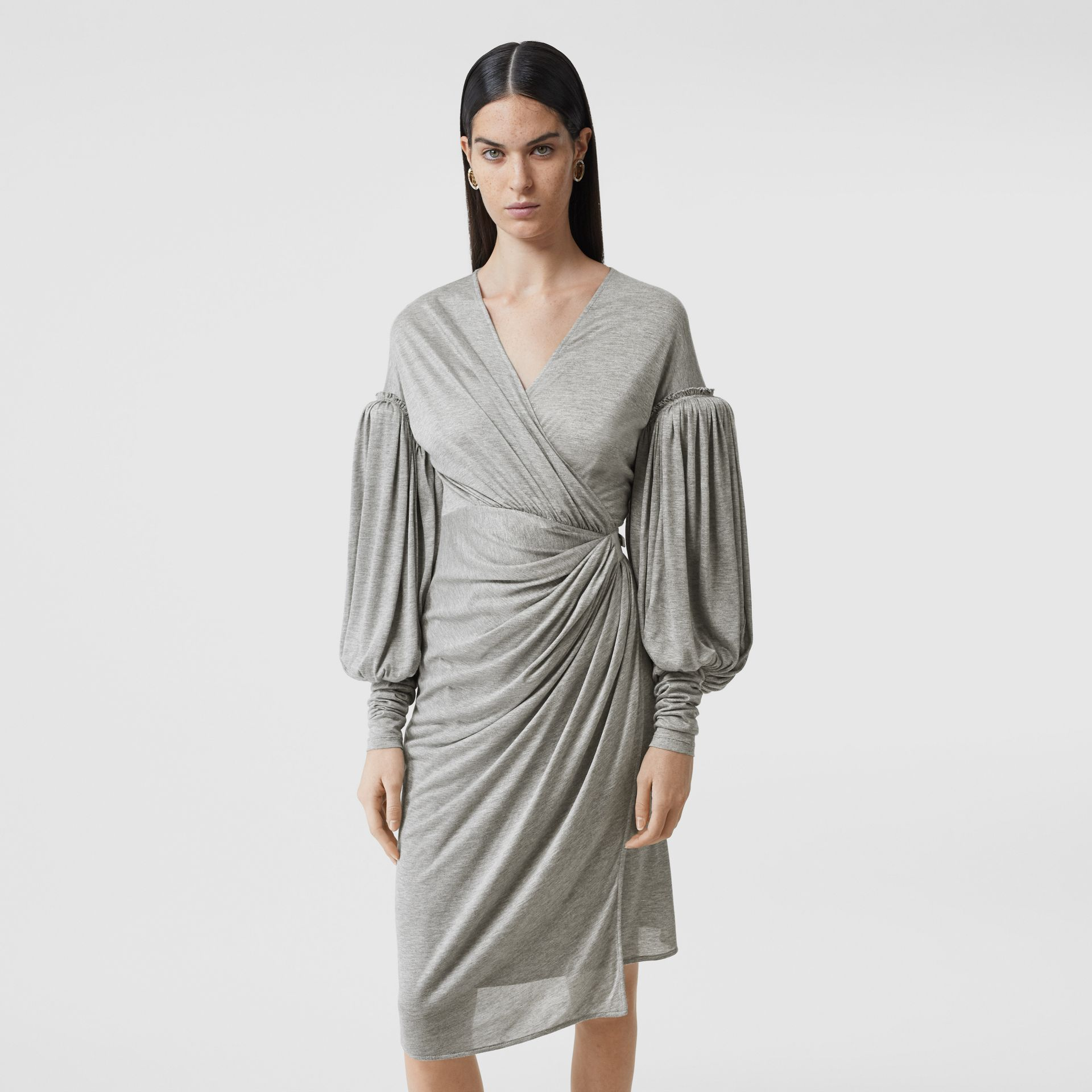 Puff-sleeve Jersey Wrap Dress in Pewter Melange - Women | Burberry - gallery image 5