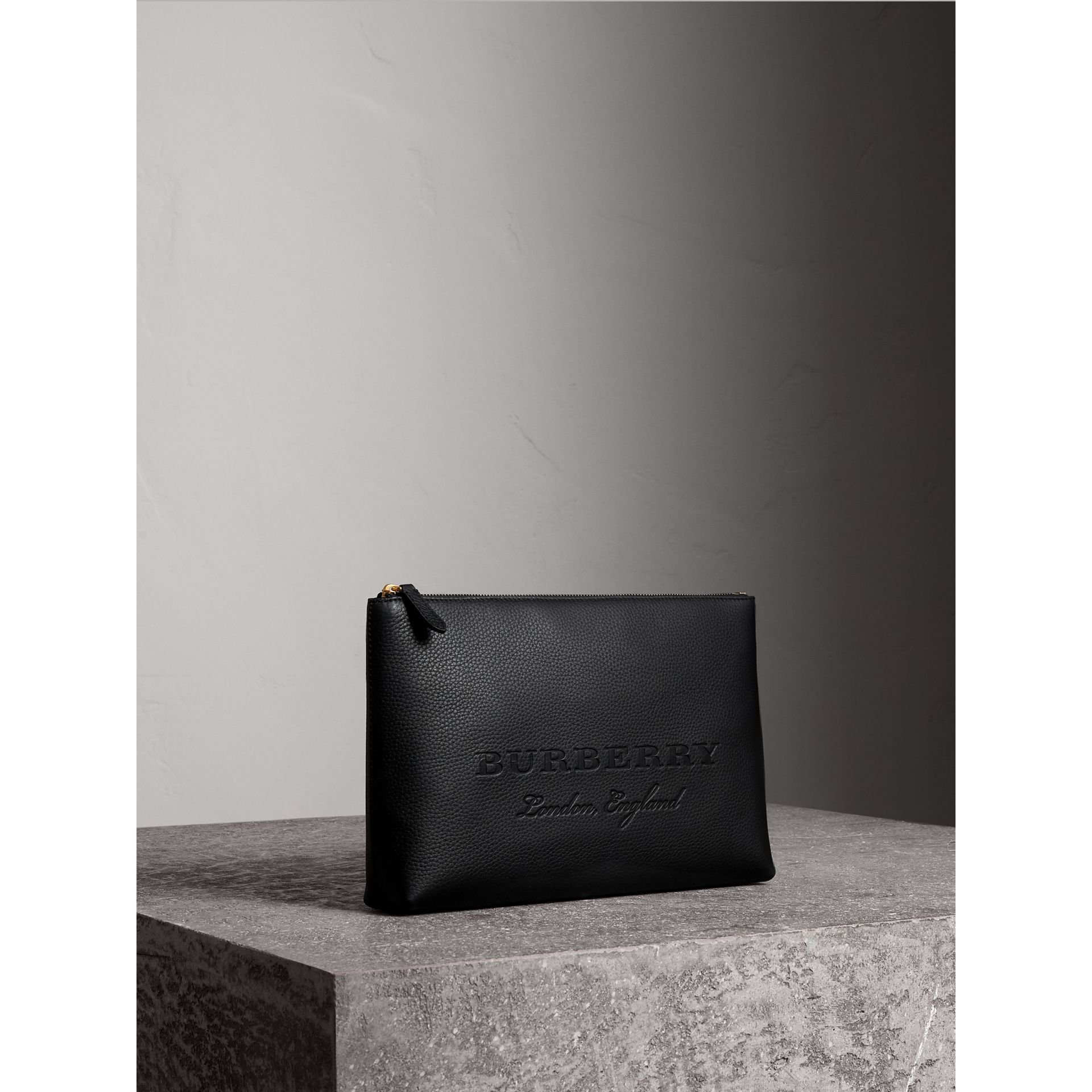 Large Embossed Leather Zip Pouch in Black - Men | Burberry - gallery image 4