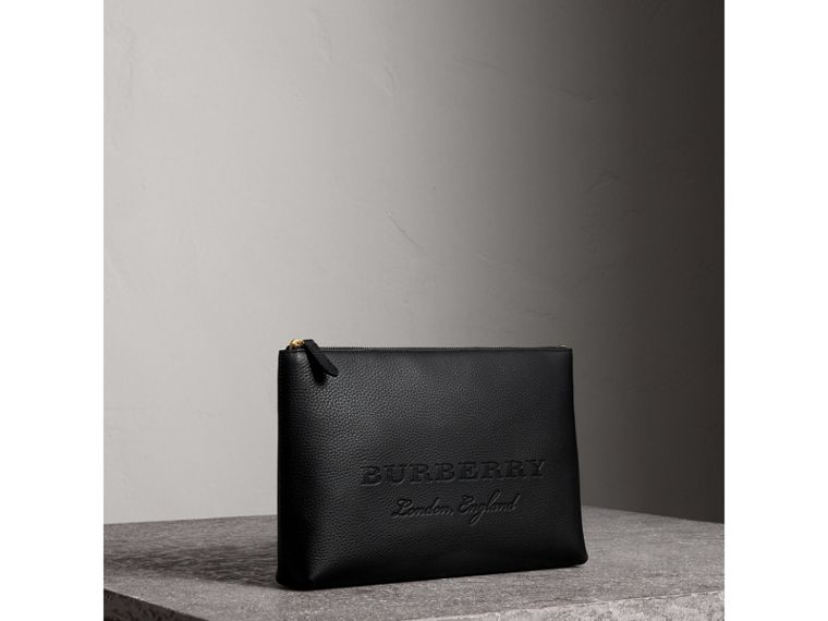 Large Embossed Leather Zip Pouch in Black - Men | Burberry Australia - cell image 4