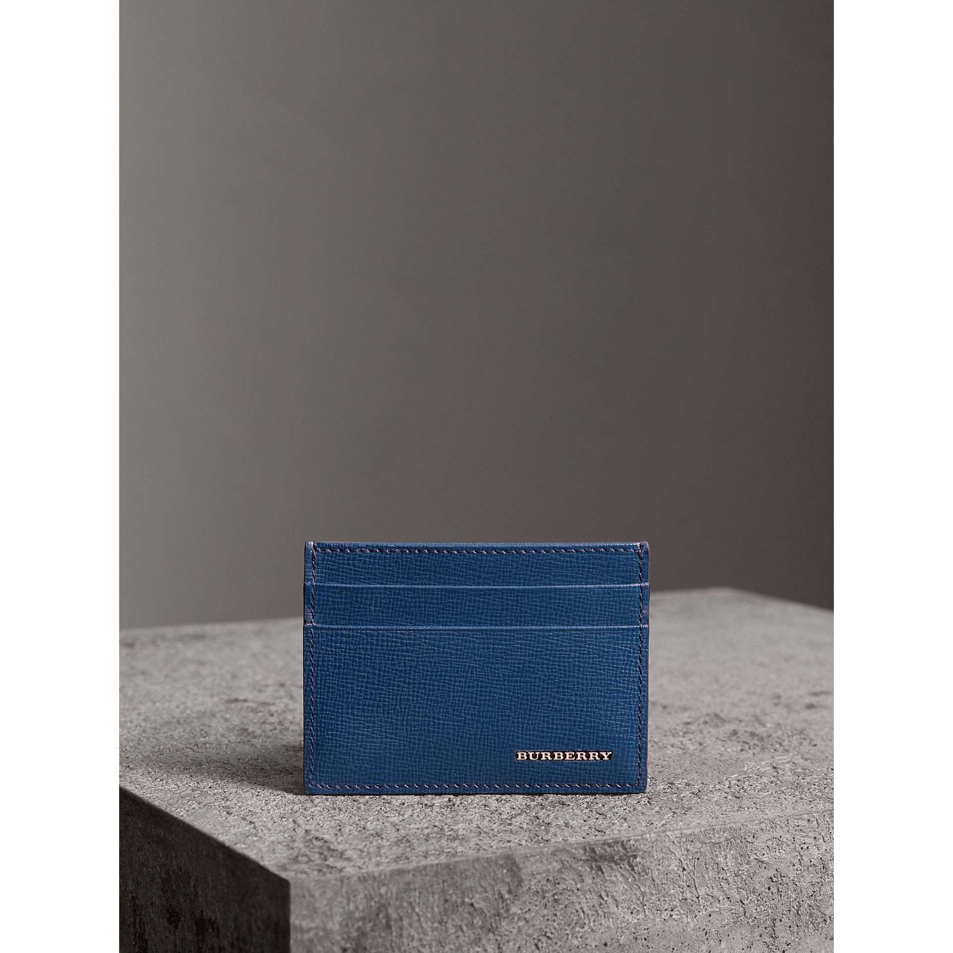 London Leather Card Case in Deep Blue - Men | Burberry - gallery image 4