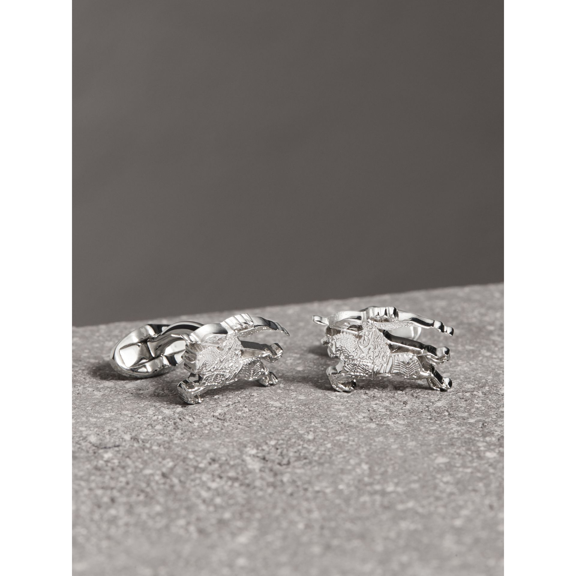 Equestrian Knight Cufflinks in Silver - Men | Burberry - gallery image 0