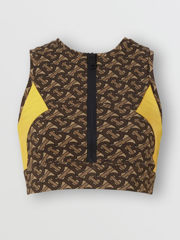 Colour Block Monogram Print Cropped Top in Bridle Brown - Women | Burberry United Kingdom - cell image 3