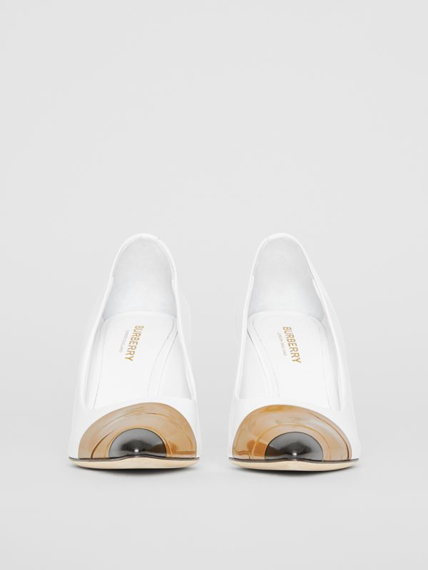 Tape Detail Leather Pumps in Optic White/ Black - Women | Burberry - cell image 3