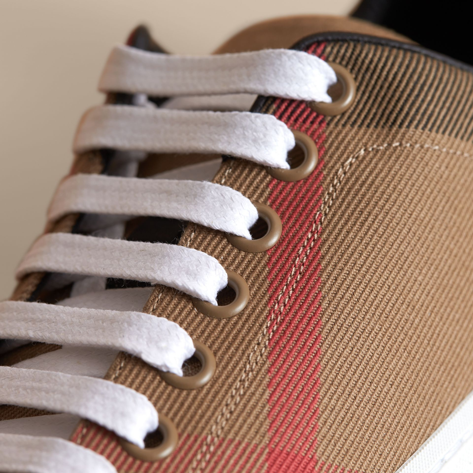 House Check and Leather Trainers in Classic - Women | Burberry - gallery image 2