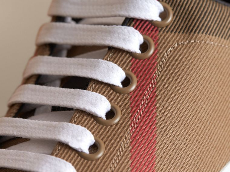 House Check and Leather Trainers in Classic - Women | Burberry - cell image 1