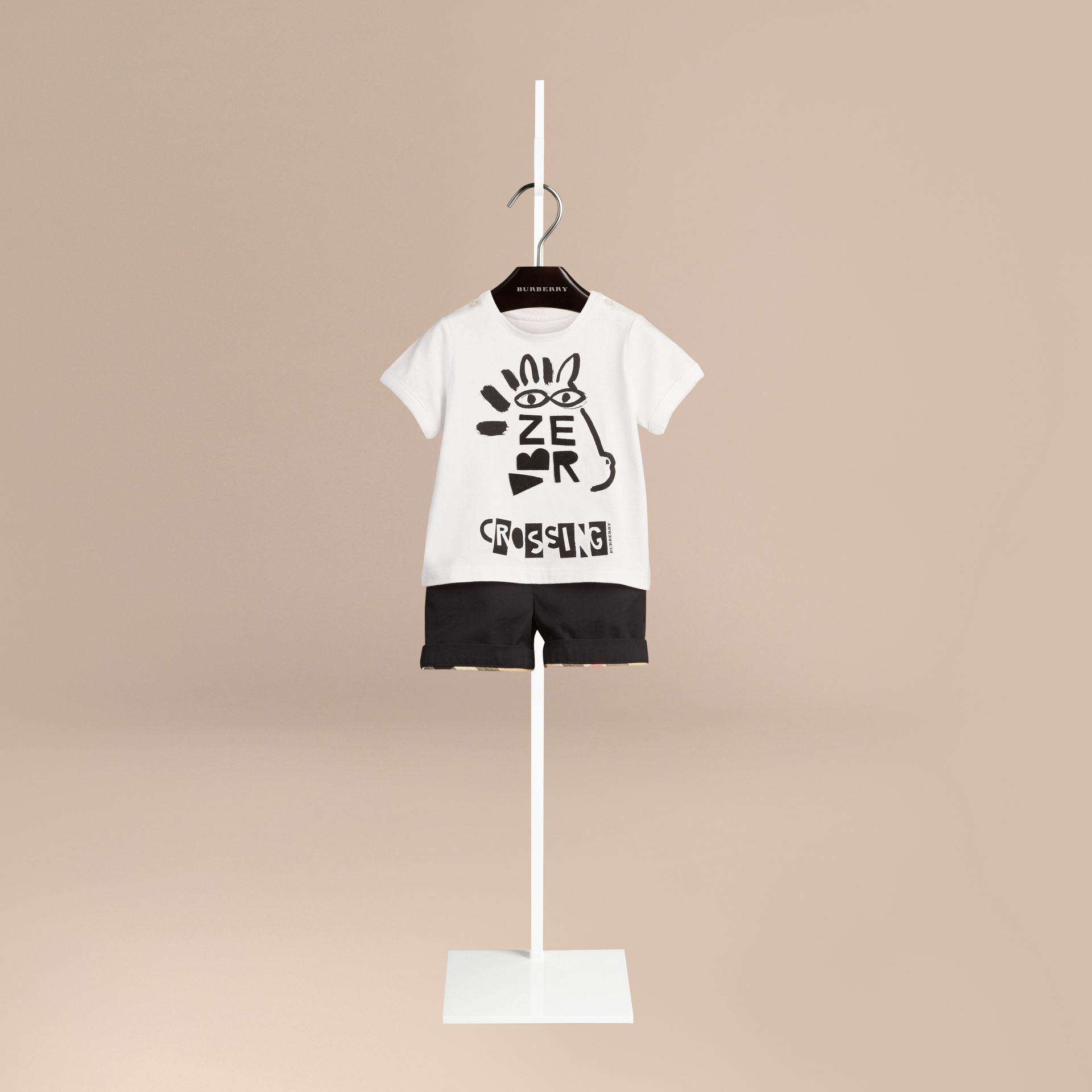 White Typographic Print Cotton T-shirt - gallery image 1