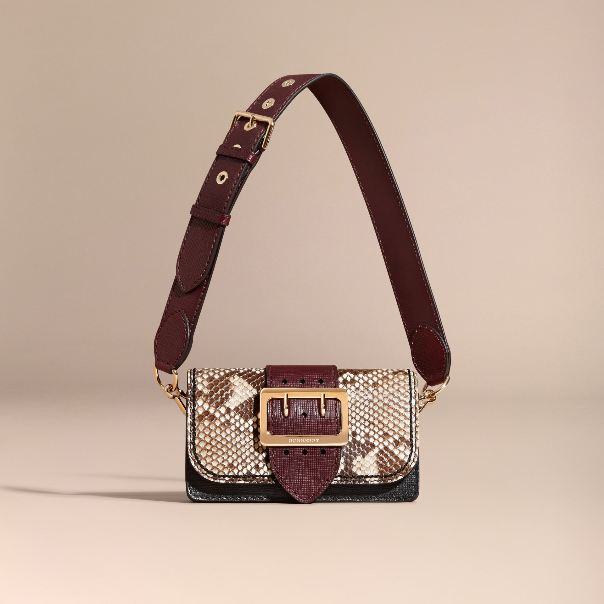 Natural / burgundy The Small Buckle Bag in Python and Leather - gallery image 9
