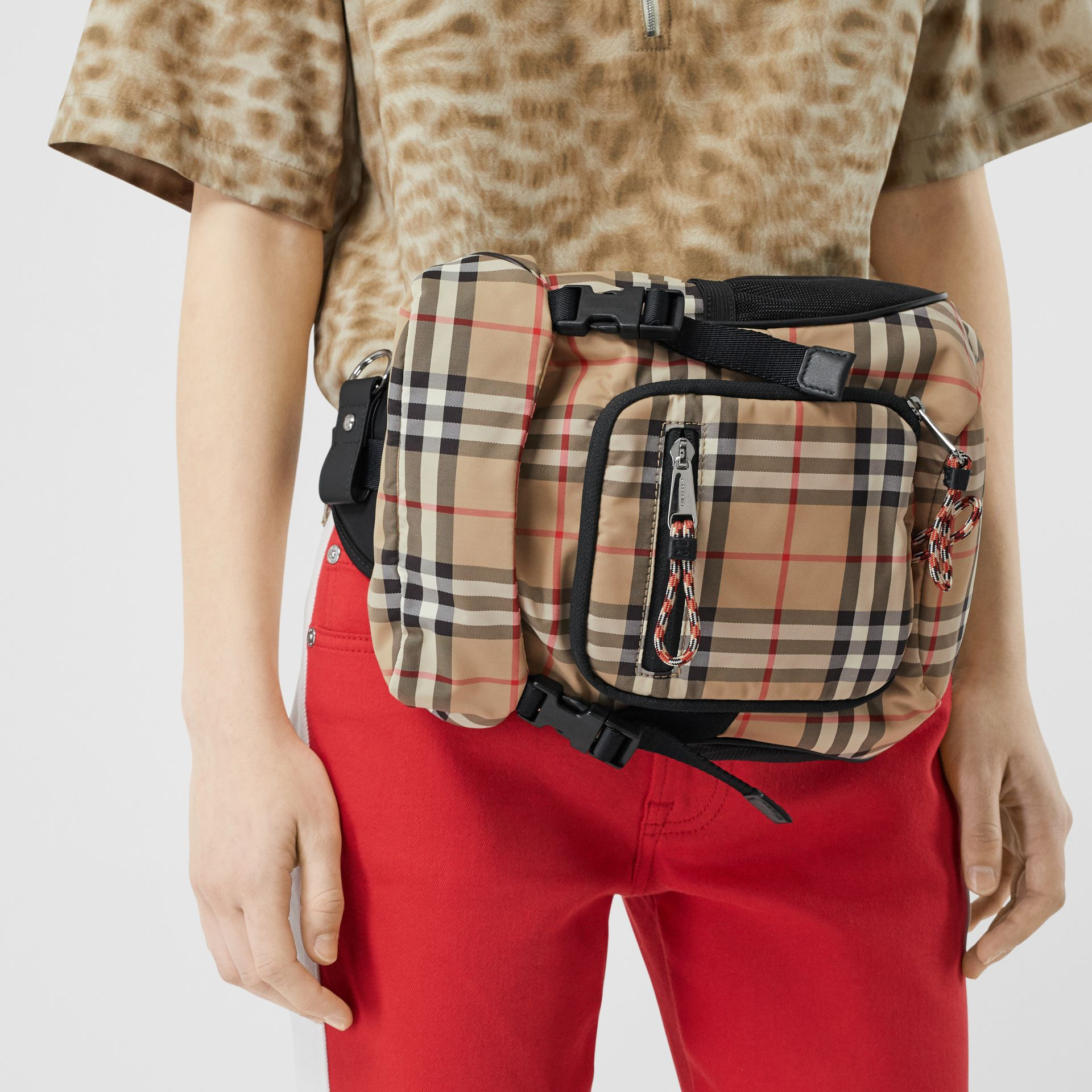 Vintage Check Nylon Leo Belt Pack in Archive Beige - Men | Burberry - gallery image 2