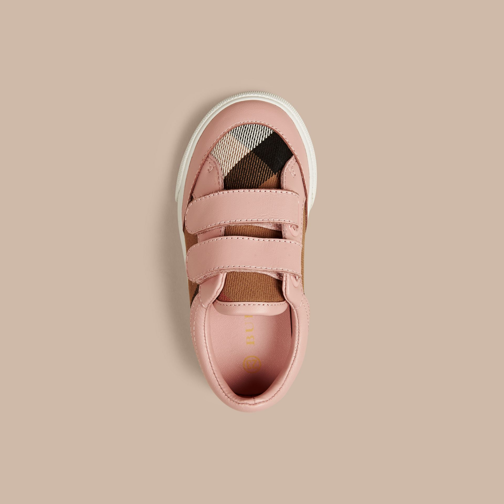 House Check and Leather Trainers in Peony Rose Melange | Burberry - gallery image 3