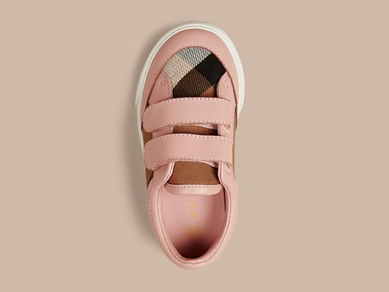 House Check and Leather Trainers in Peony Rose Melange | Burberry - cell image 2