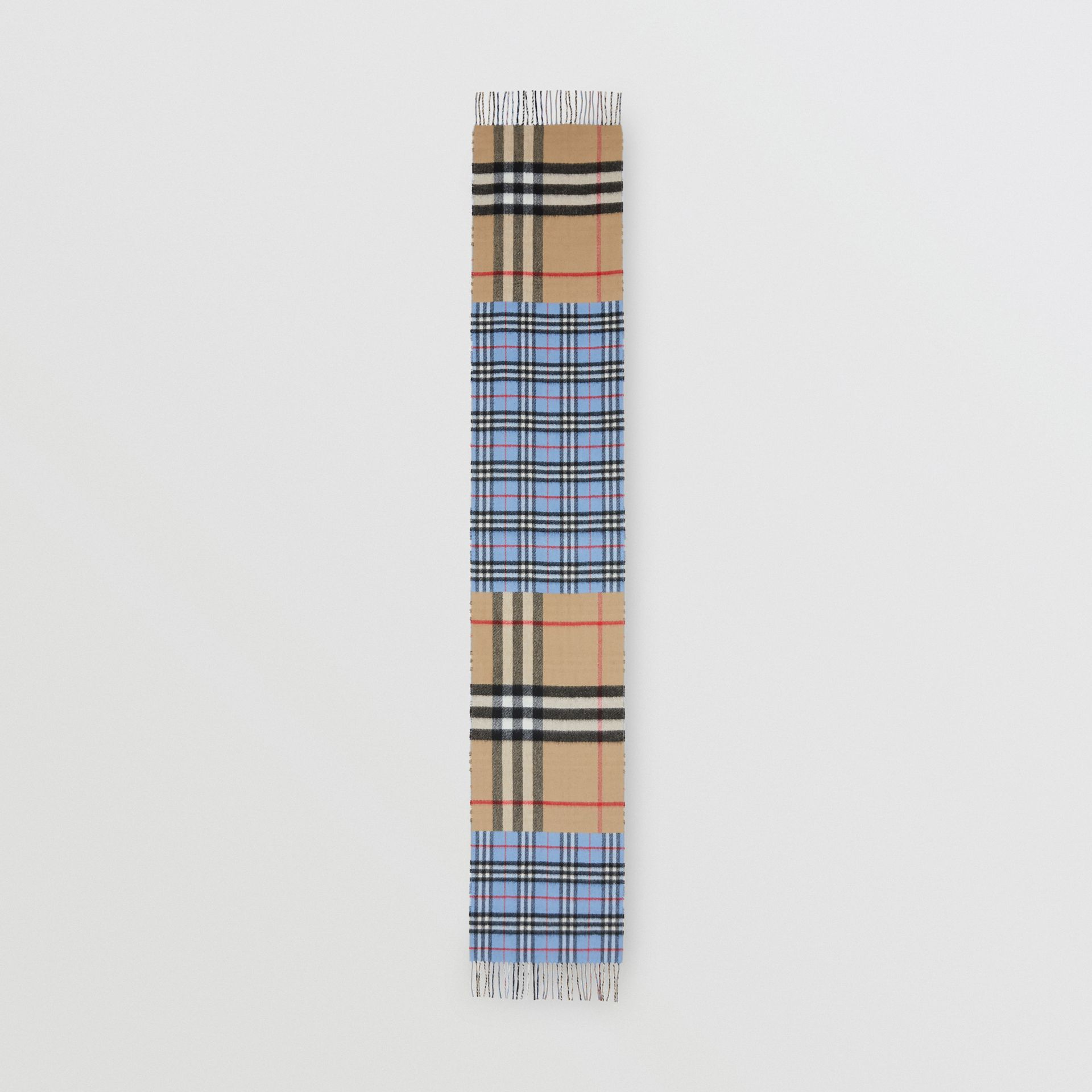 Écharpe en cachemire et laine mérinos check (Bleu Opale) | Burberry Canada - photo de la galerie 5