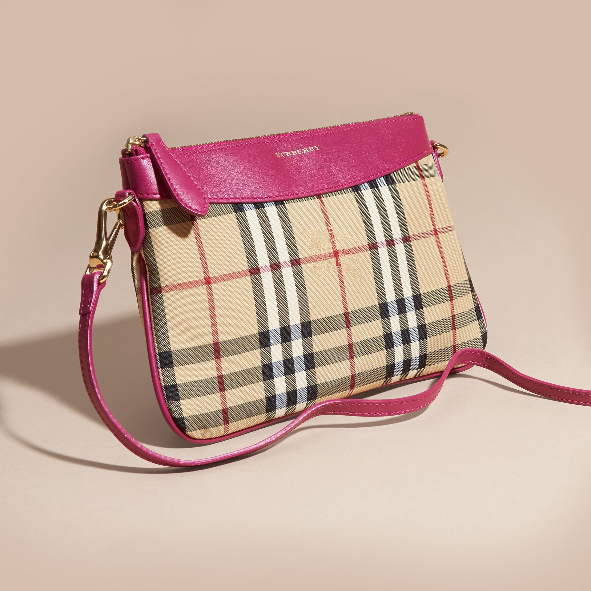 Horseferry Check and Leather Clutch Bag Brilliant Fuchsia - gallery image 8