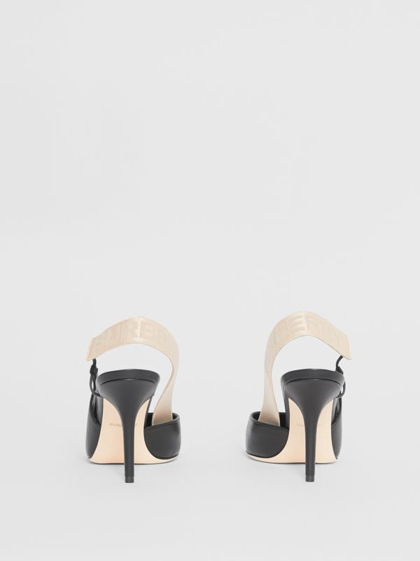 Logo Detail Lambskin Slingback Pumps in Black - Women | Burberry - cell image 3