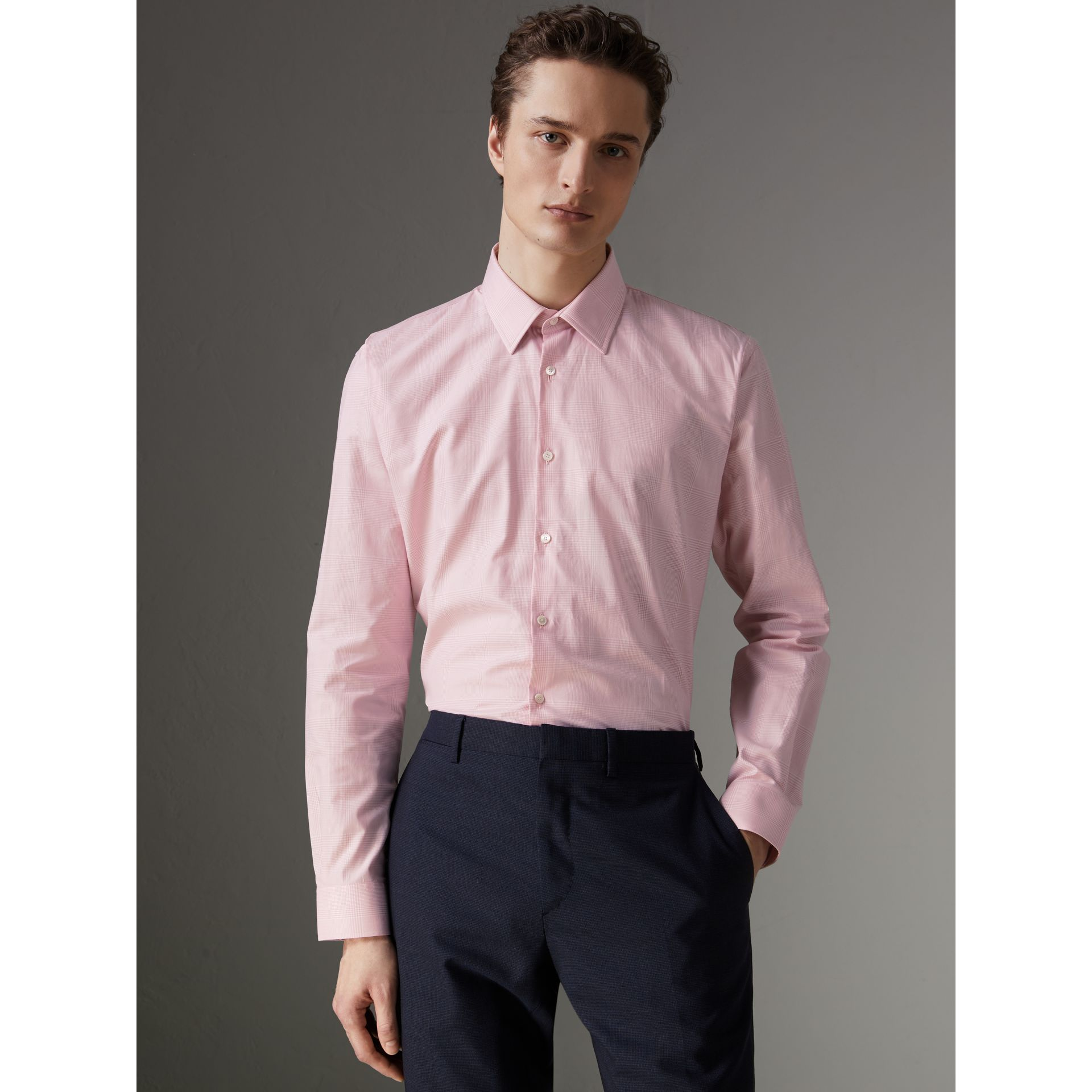 Modern Fit Check Cotton Shirt in Light Pink - Men | Burberry United Kingdom - gallery image 0