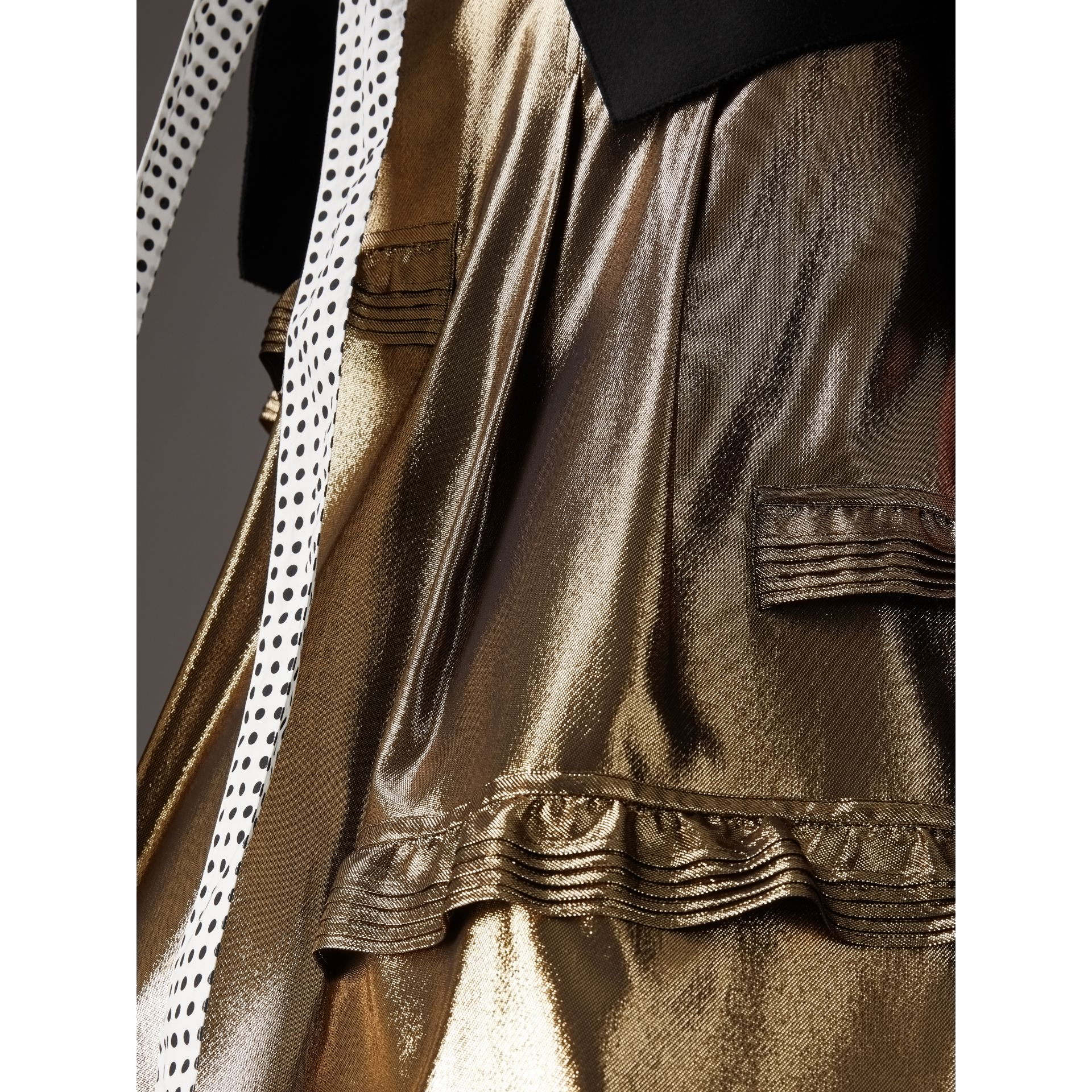 Ruffle Detail Lamé Skirt – Online Exclusive in Gold - Women | Burberry - gallery image 1