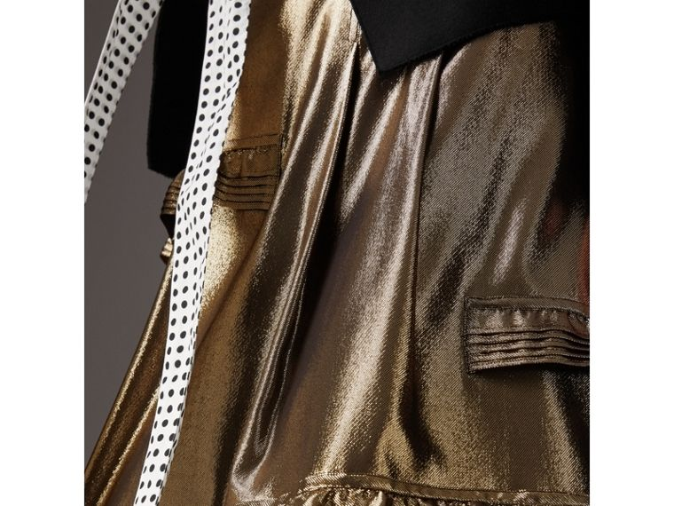 Ruffle Detail Lamé Skirt – Online Exclusive in Gold - Women | Burberry - cell image 1