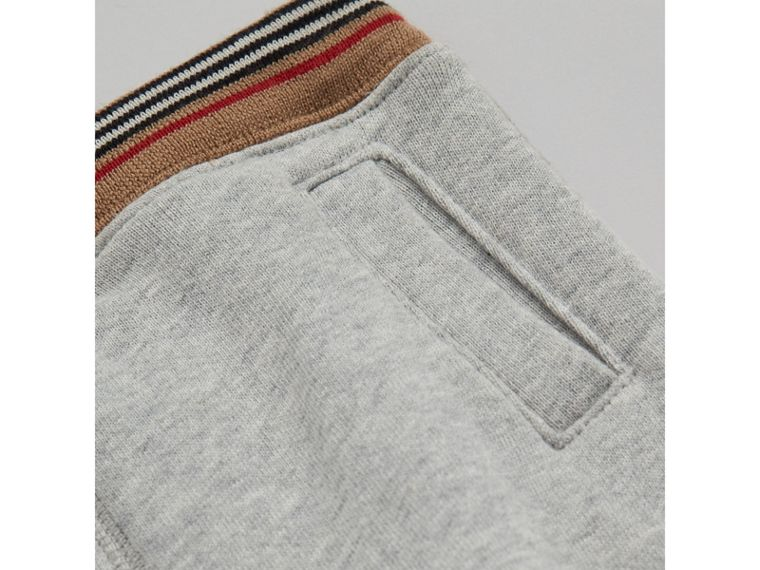 Heritage Stripe Cotton Jersey Sweatpants in Grey Melange | Burberry - cell image 1