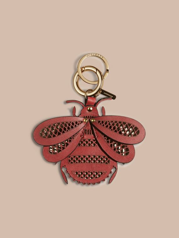 Laser-cut Leather Bug Key Charm