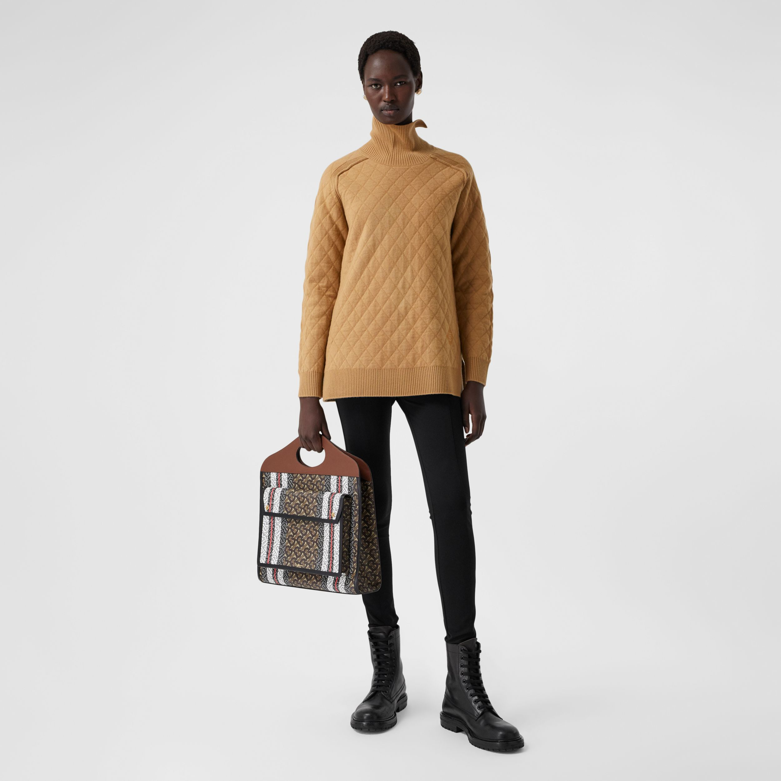 Diamond Knit Wool Funnel Neck Sweater in Camel - Women | Burberry - 1