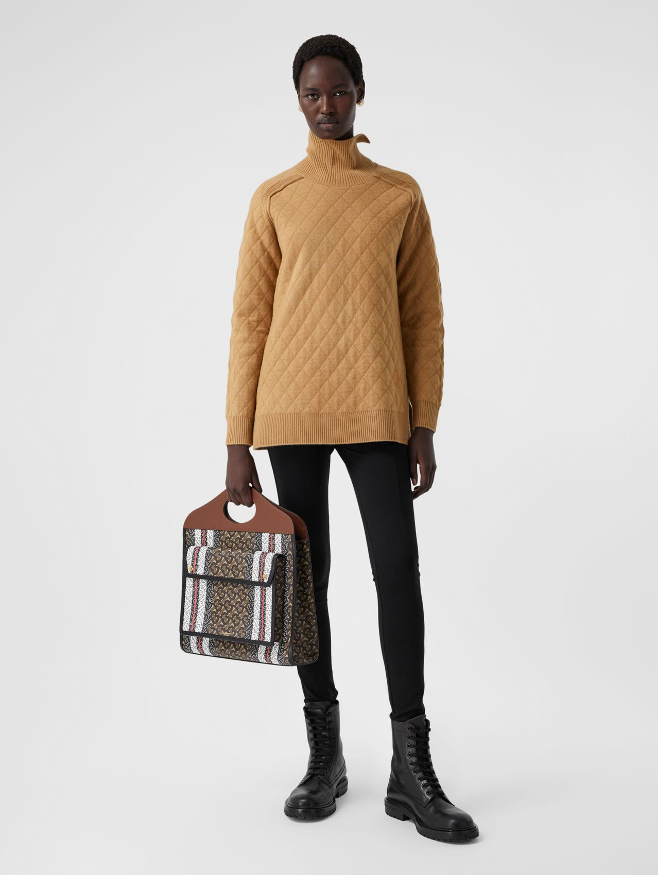 Diamond Knit Wool Funnel Neck Sweater in Camel