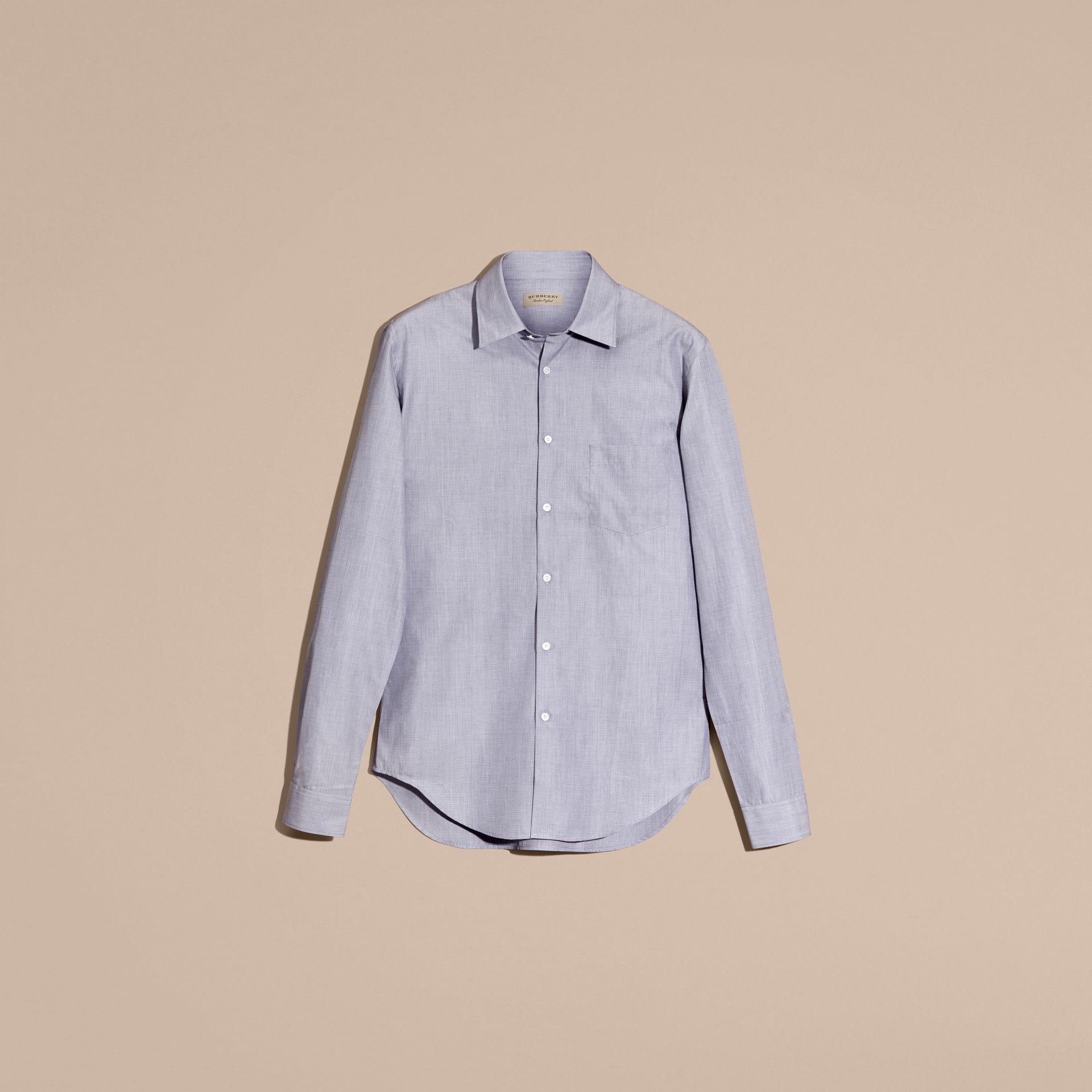 Light blue Mélange Cotton Shirt Light Blue - gallery image 4