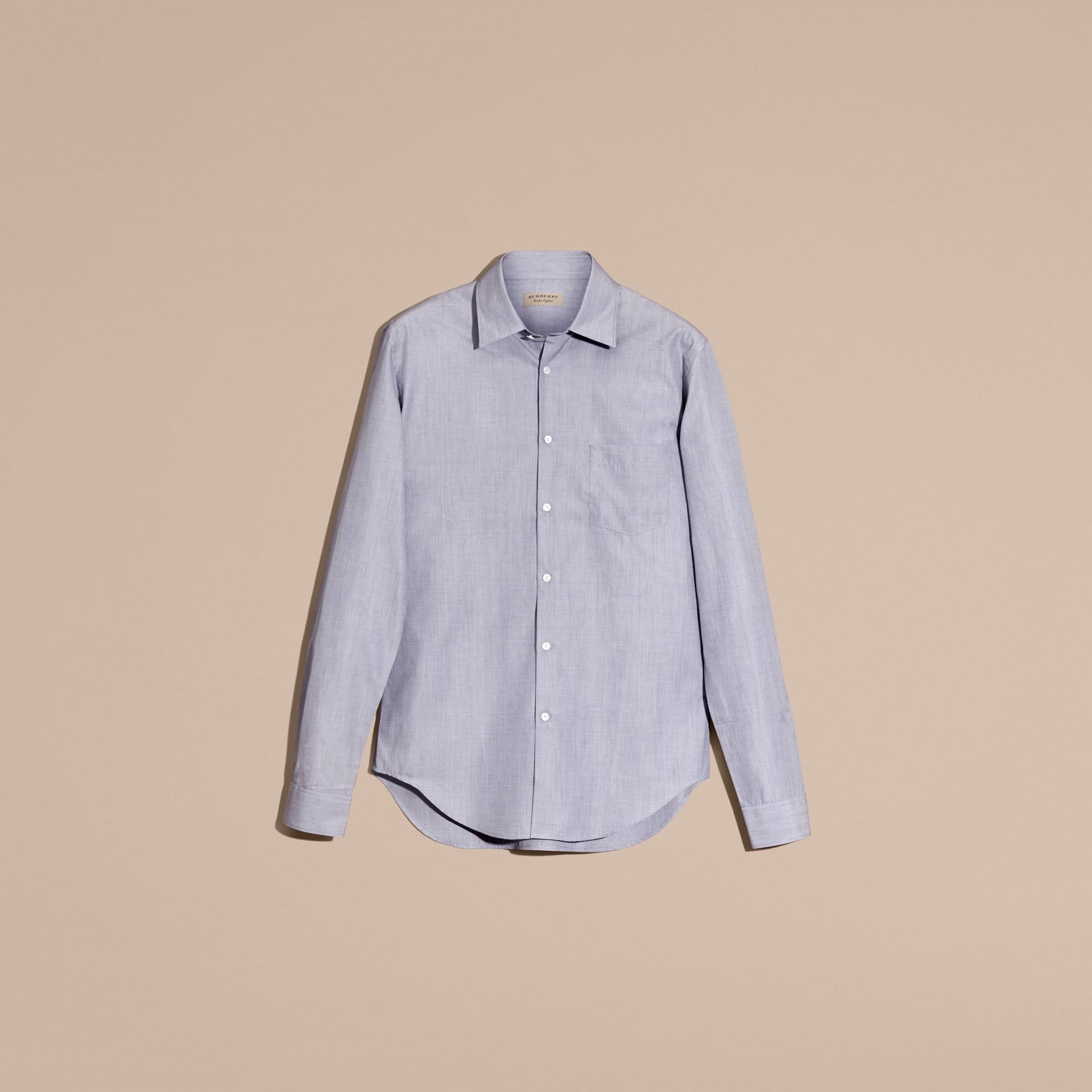 Light blue Camisa de mescla de algodão Light Blue - galeria de imagens 4