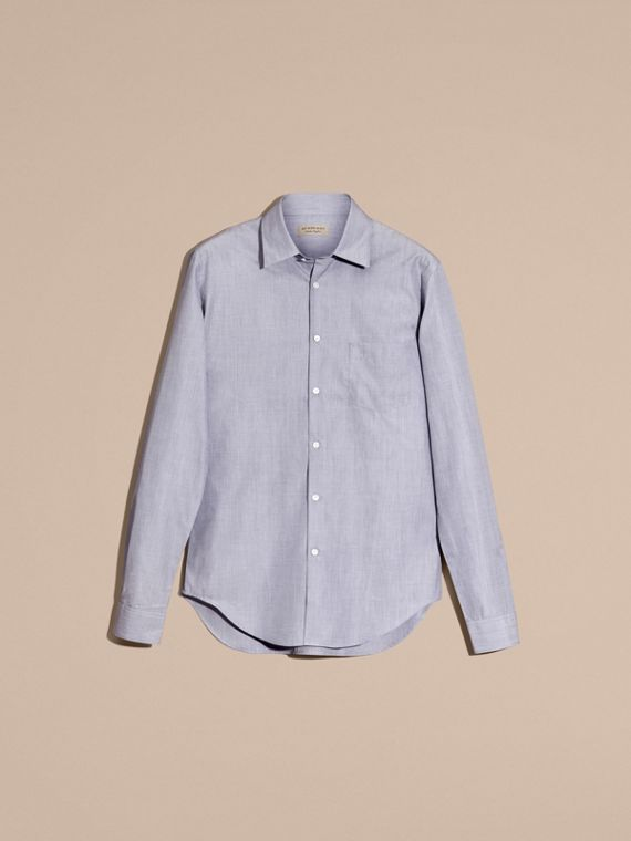 Light blue Mélange Cotton Shirt Light Blue - cell image 3