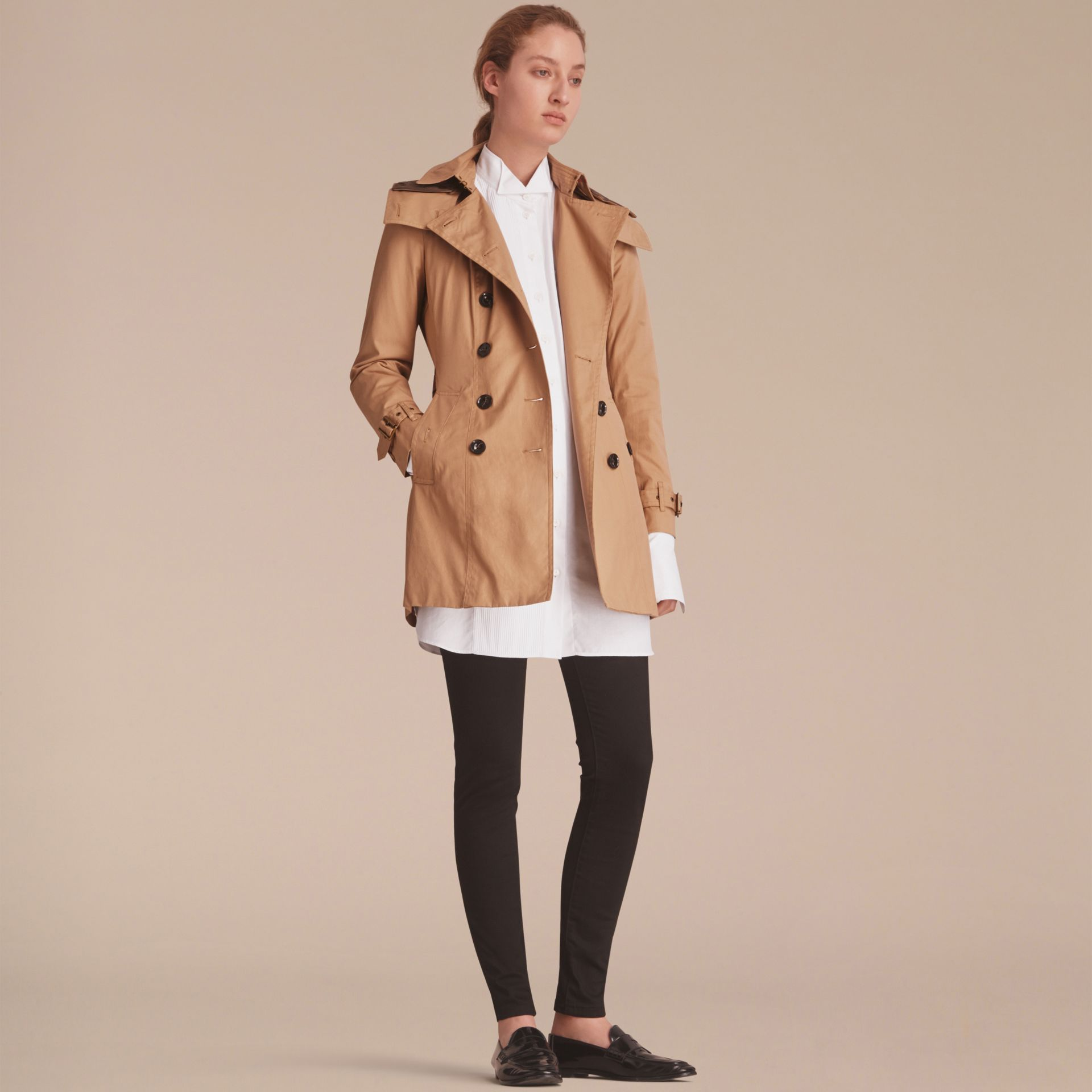 Hooded Trench Coat with Warmer in Light Camel - gallery image 8