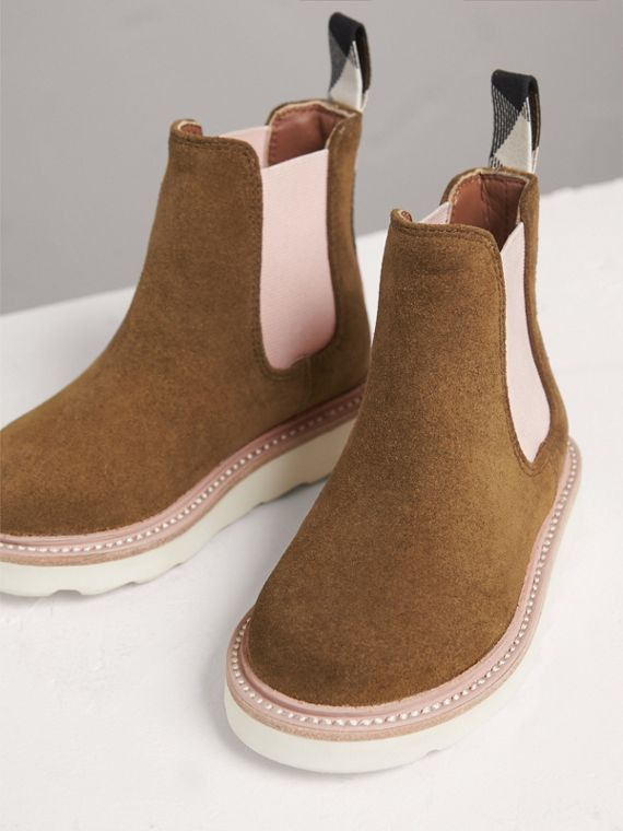 Two-tone Suede Chelsea Boots in Sandstone | Burberry - cell image 3