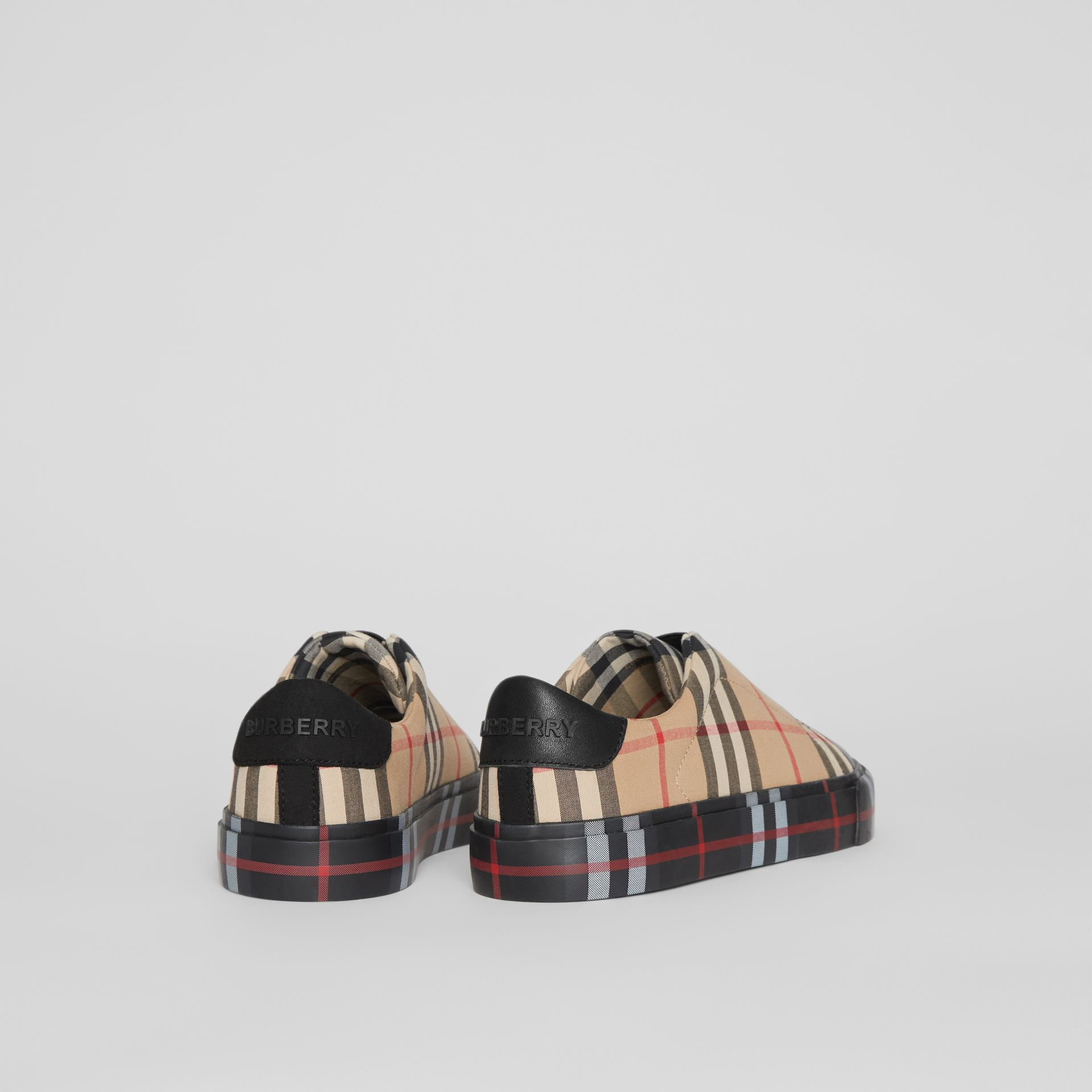 Contrast Check Slip-on Sneakers in Black/archive Beige - Children | Burberry - gallery image 2