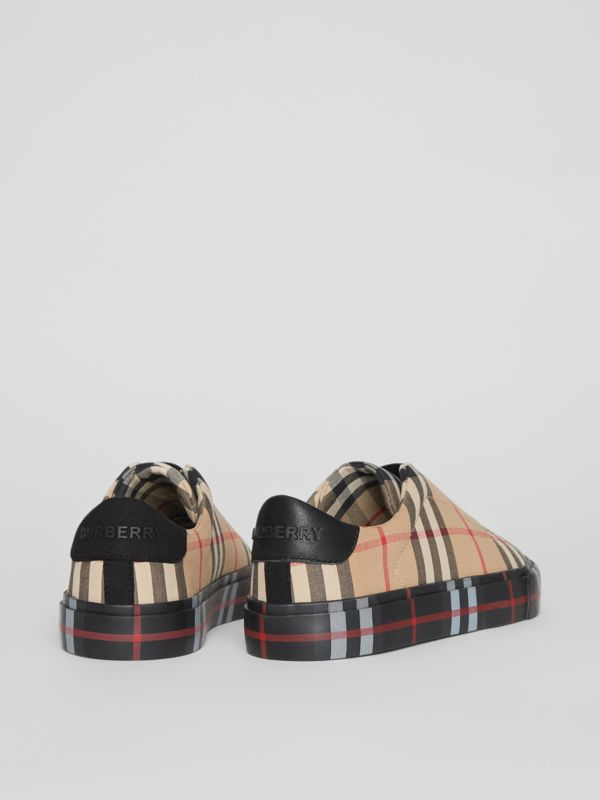 Contrast Check Slip-on Sneakers in Black/archive Beige - Children | Burberry United Kingdom - cell image 2